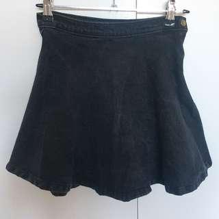 Black Denim Flowy Skirt