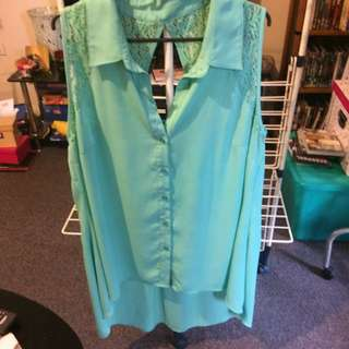 City Chic Size 16 Collared Mint Green Lace Top