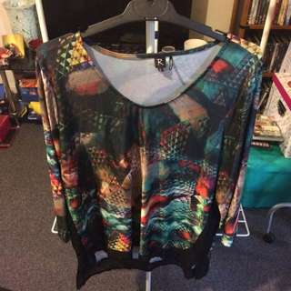 Rockmans Size 16 Coloured Print Top