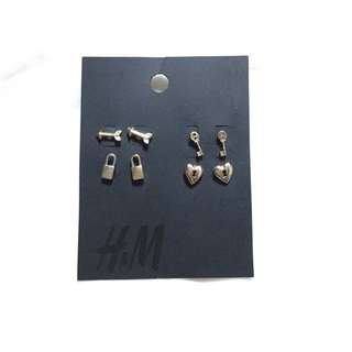 H&M Gold Lock&key Earrings Anting