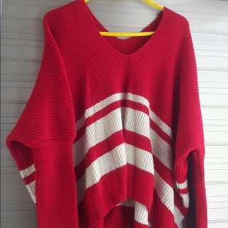 290含運,寬鬆紅色條文條紋配色蝙蝠袖針織毛衣