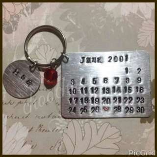 Hand Stamped Calendar Wedding Souvenir