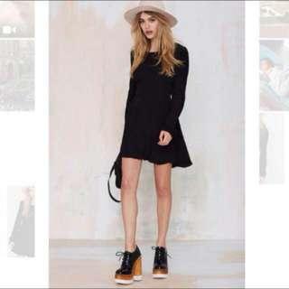 BNWT Nasty Gal Black Open Back Dress