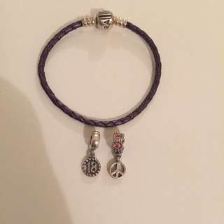 Pandora Leather Bracelet And Charms