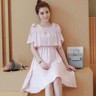 [PO] Nursing Dress With Ribbon Drop Shoulder