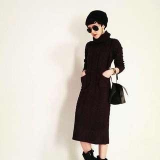 韓國麻花黑色粗針織高領開叉洋裝長袖毛衣針織洋裝連身裙