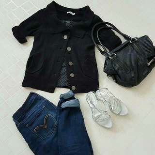 Black Knit Button Up Cardigan