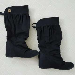 Black Below-knee Slouchy Wedge Boots Size 8-8.5