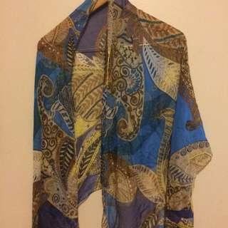 Blue Silk Shawl/ Scarf