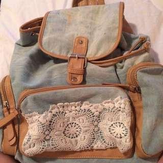 Blue, boho backpack.