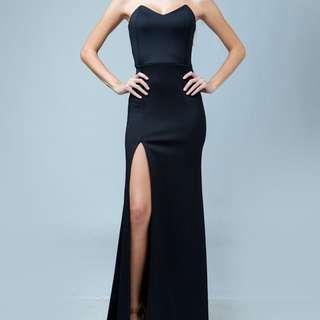 black formal high slit dress