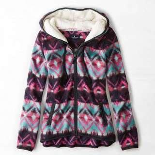 American Eagle AEO Women's Printed Polar Fleece Hoodie Jacket