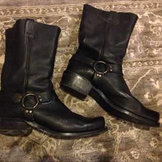 Classic Leather Biker Boots