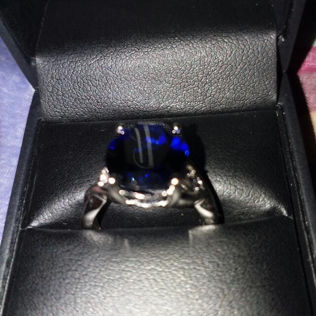 7 1/2 carat Created Blue Sapphire Ring