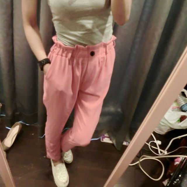 韓組 粉桃色花包褲