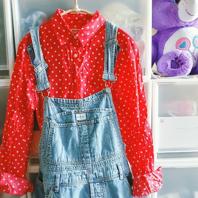 [二手] 日本購買水玉點點紅色襯衫 迪士尼米妮風格