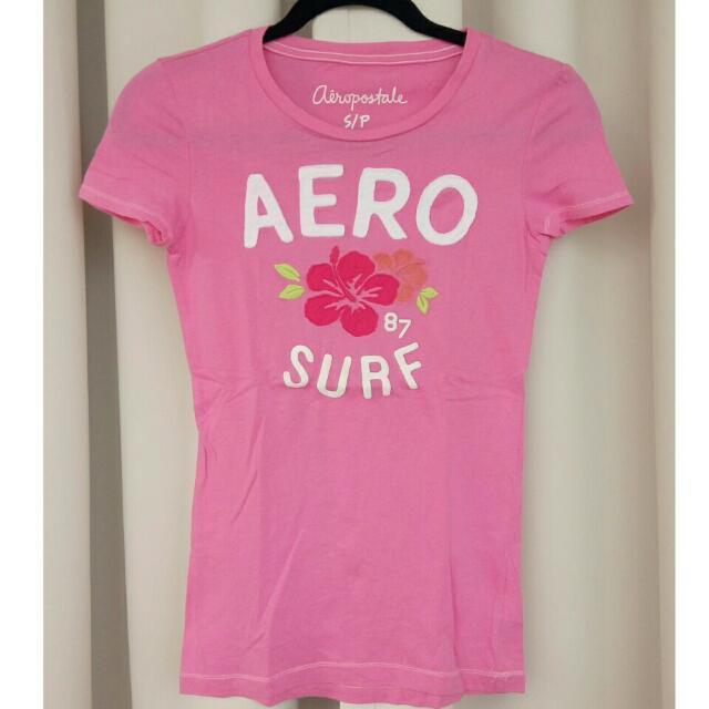 Aeropostale Pink Tee with hibiscus