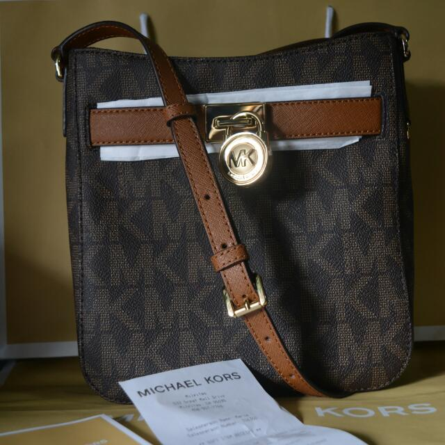 Authentic Michael Kors Hamilton Traveller Crossbody Brown/Luggage