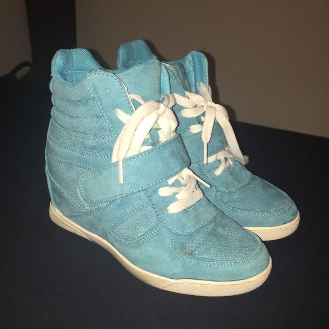 Blue Wedge Sneakers