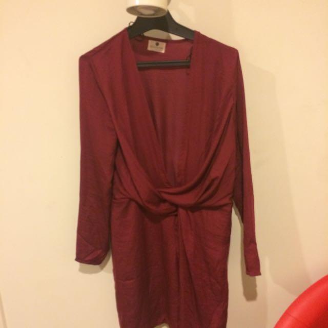 BURGUNDY LOW CUT DRESS