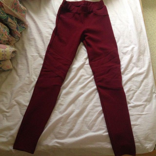 Burgundy Tight Pants