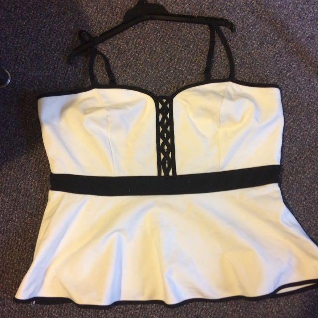 Cit Chic Size 16 Black/White Peplum Top