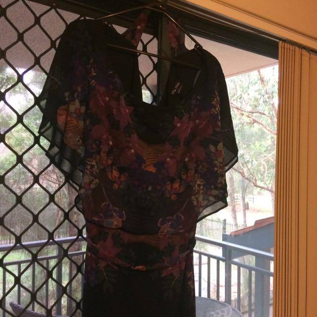 City Chic Black/Purple Floral Print Hi Lo Dress