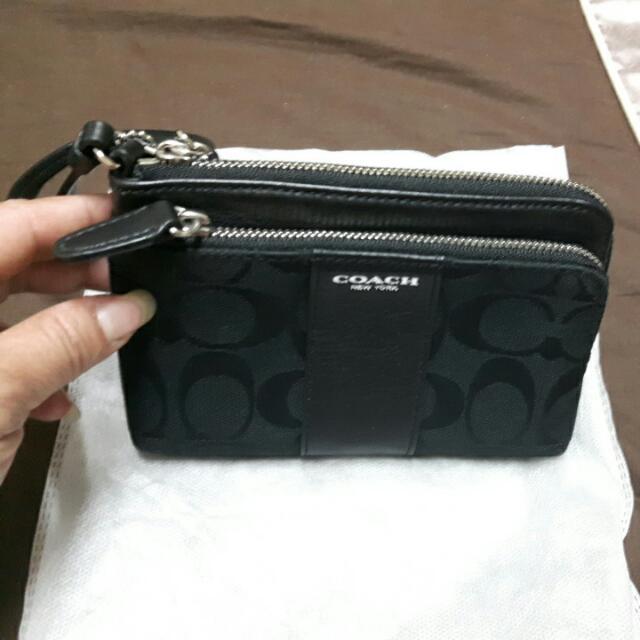 COACH黑色雙層手提包