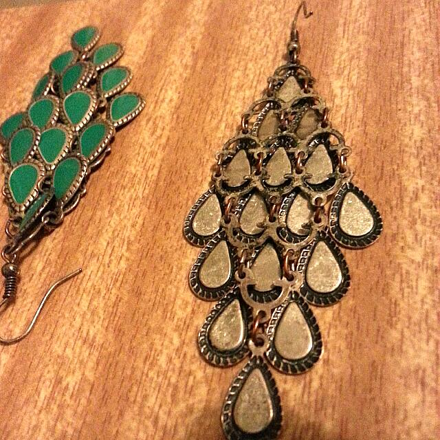 Earrings Peacock Feathers.. Made In India In Jade