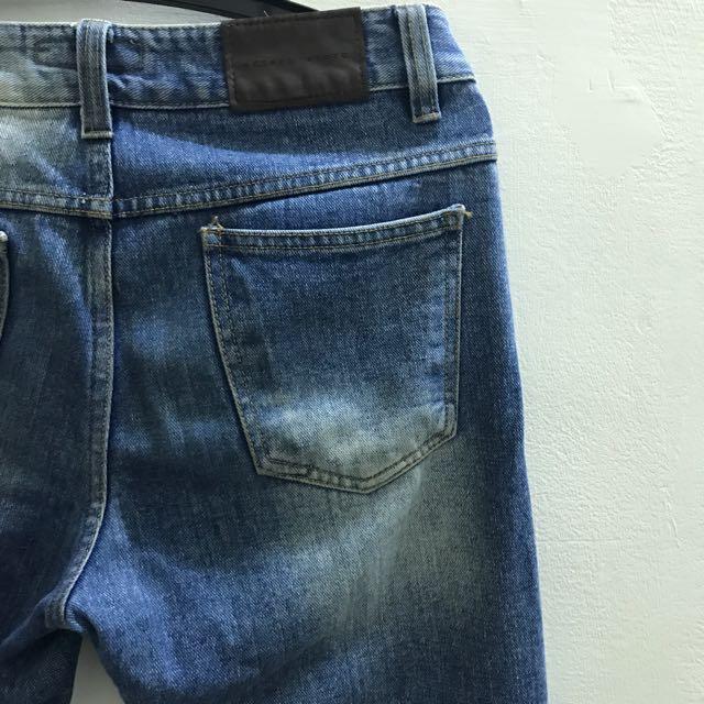 Edison Store韓貨牛仔褲/9分/刷色藍/無彈性/30腰