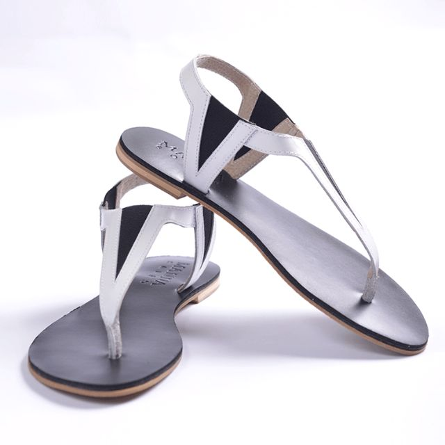 EXCLUSIVE SALE! Genuine Leather Garterized Sandals Black & White