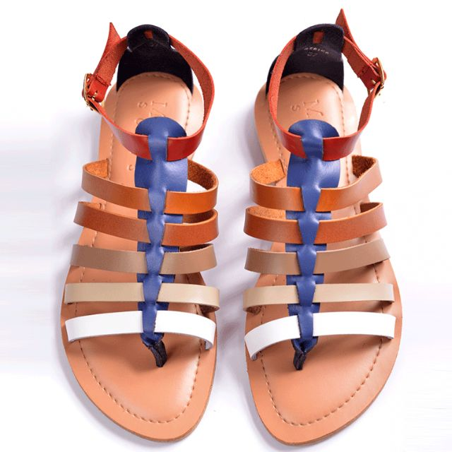EXCLUSIVE SALE! Genuine Leather Gladiator Sandals Blue