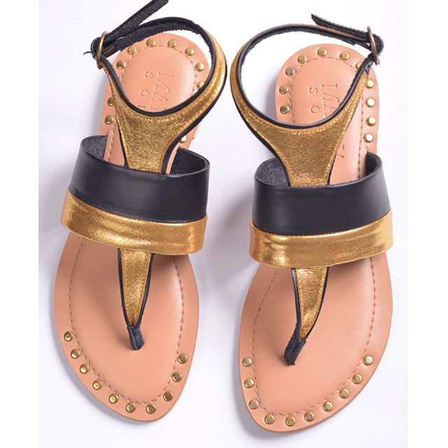 EXCLUSIVE SALE! Genuine Leather Sandals Gold & Black