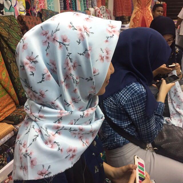Flowery Satin Square Hijab