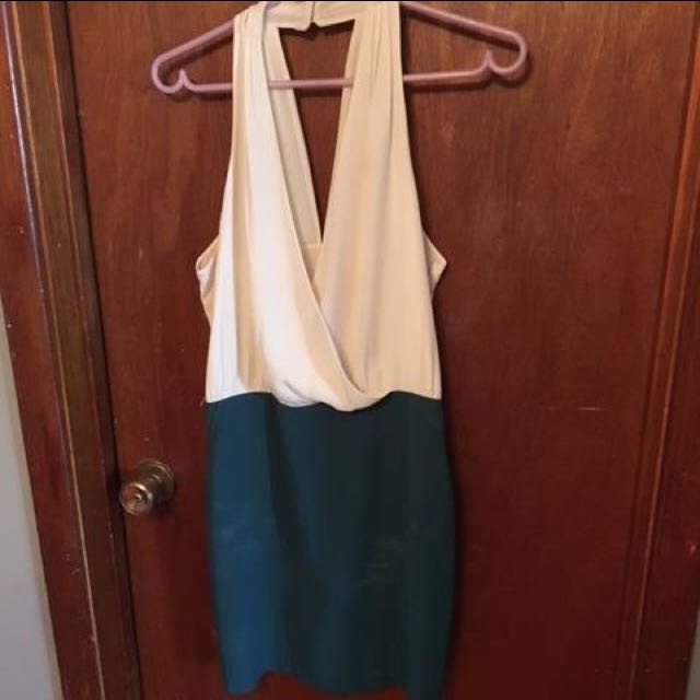 Forever 21 Cream And Teal Dress