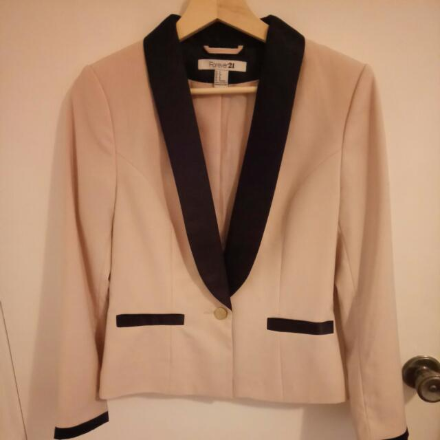 Forever 21 Cream With Black Trim Jacket