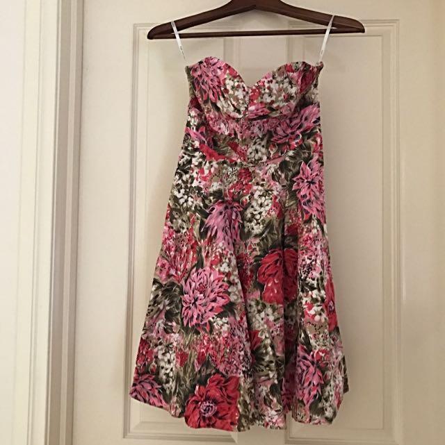 Forever New Floral Strapless Dress