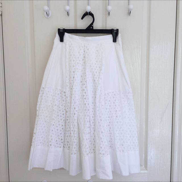 Forever New White Cut Out Skirt