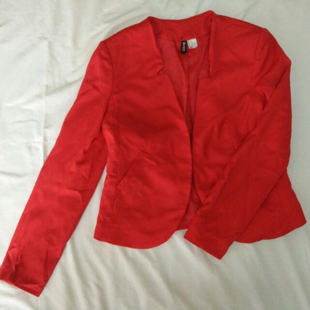 98e80cfe2bbb H M Red Crop Blazer