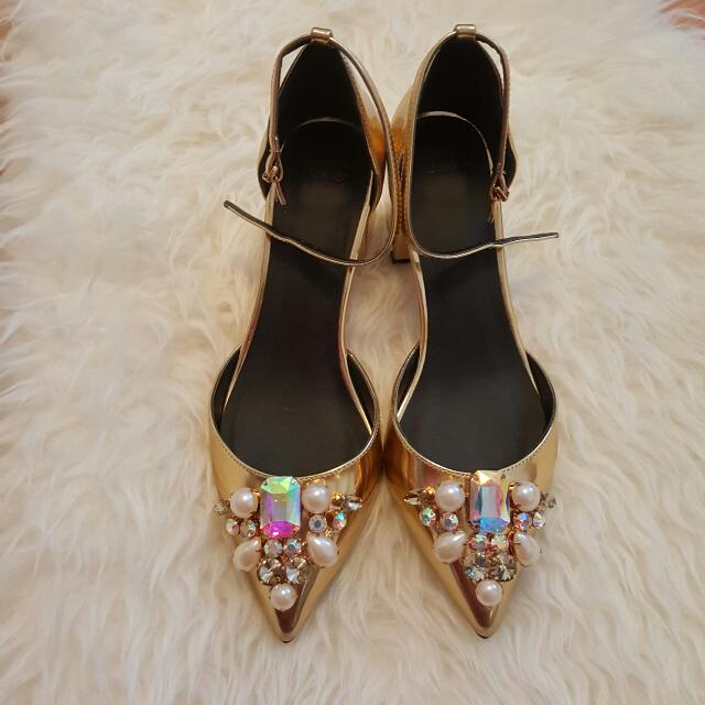 Jewelled Ankle Strap Heels