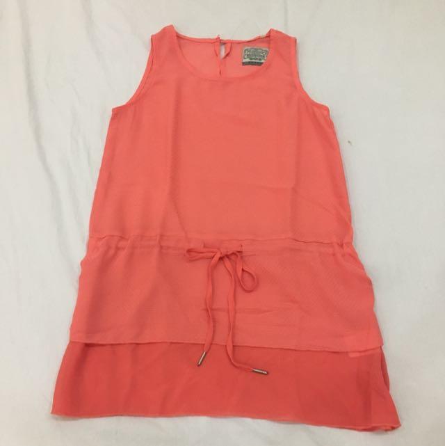 Mossimo Chiffon Tie-waist Top (coral)
