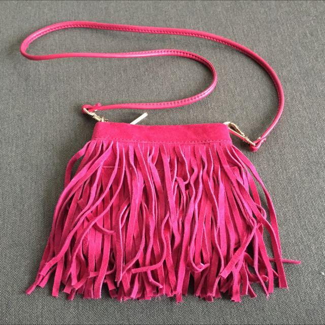 Pink Fringe Bag