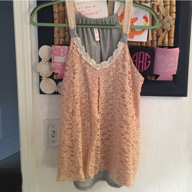 Pink Lace Tank Too