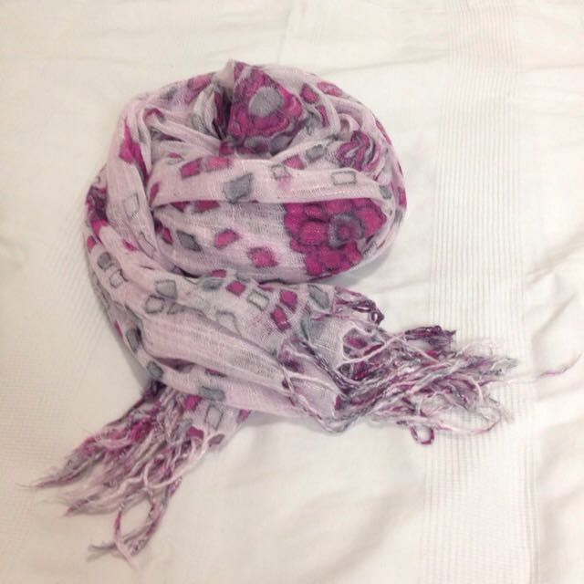 Pink Scarf With Flower Patterns