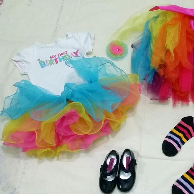 rainbow set birthday dress