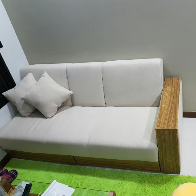 sarai 2 5 seats storage sofa bed fabric beige furniture sofas on rh sg carousell com storage sofa bed singapore storage sofa bed sectional