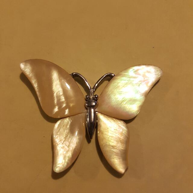 Silver & Polished Shell Butterfly Necklace