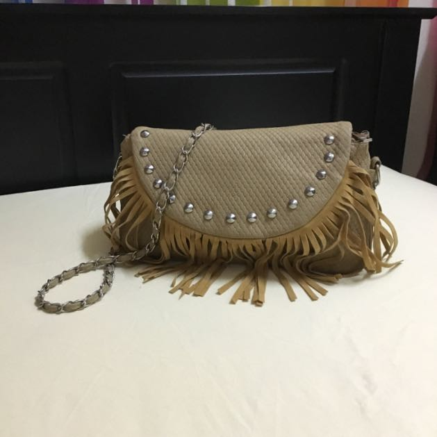 Studded Fringe Sling Bag