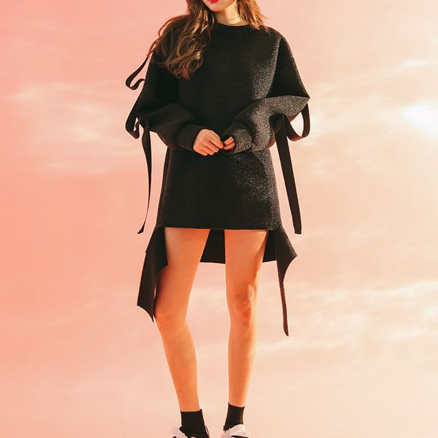 STYLENANDA - Strap Detail Shimmery Pullover
