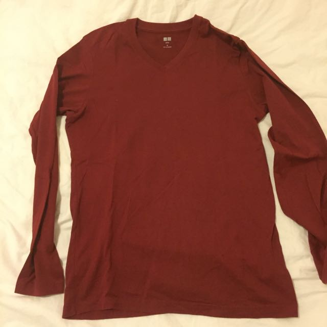Uniqlo Red V neck Long Sleeve Shirt M